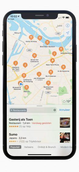 Apple Kaarten restaurants in omgeving zoeken