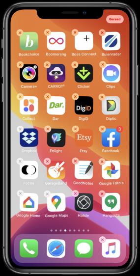 Apps verwijderen iPhone