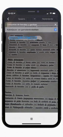 Menukaart vertalen Google Translate