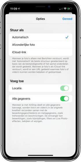 nieuwe functies iOS 13 Foto's delen metadata