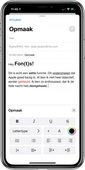 Mail opmaak iOS 13