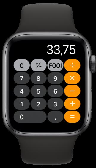 watchOS 6 rekenmachine