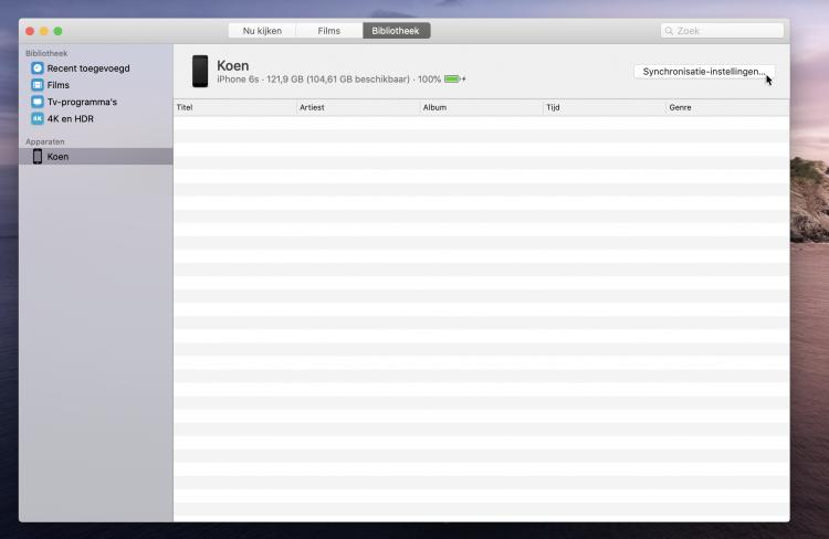 synchroniseren met Mac