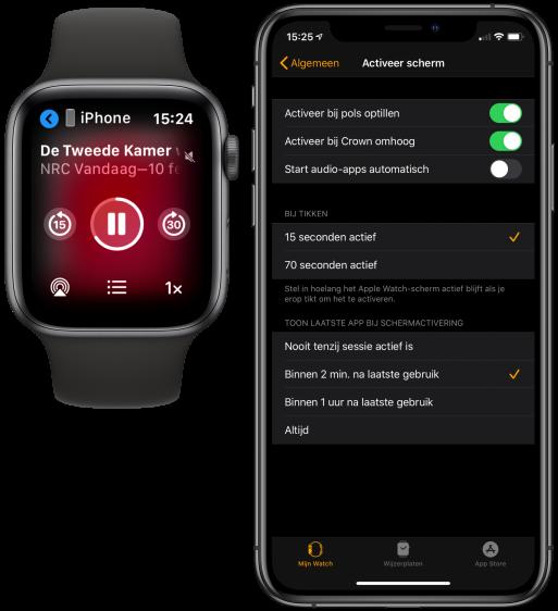 Apple Watch audio-apps uitzetten