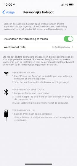 persoonlijke hotspot iOS