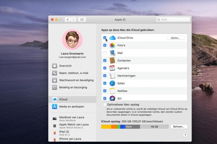 iCloud drive activeren