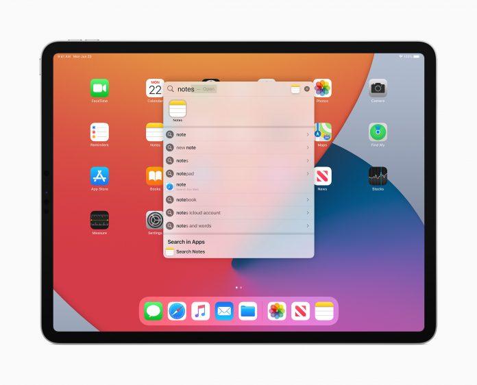 iPadOS 14 zoekfunctie