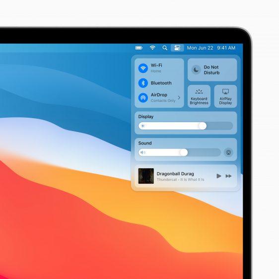 Bedieningspaneel Mac