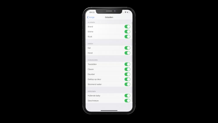 iOS 14 Geluidsherkenning