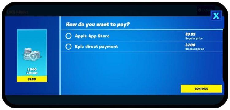 Fortnite betaalsysteem