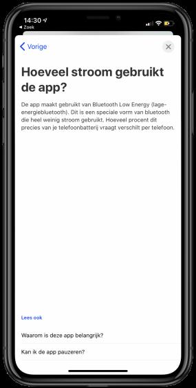 corona app batterij duur