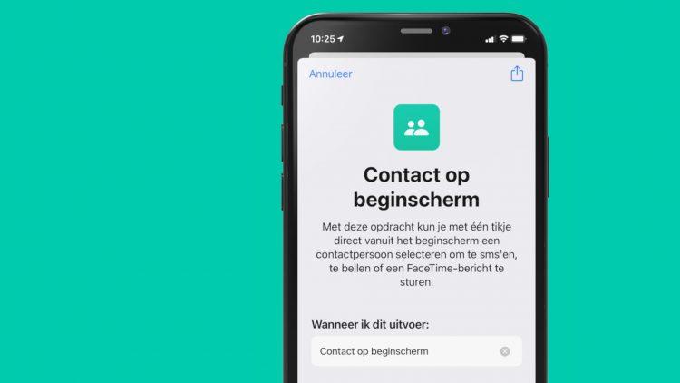 Contact op beginscherm