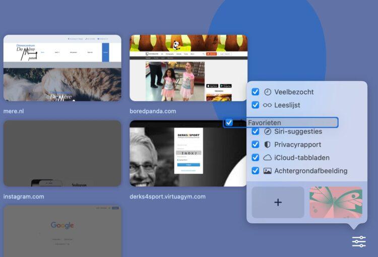 Safari startpagina sorteren