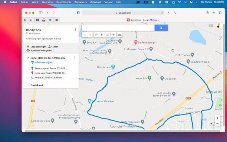 Bekijk de route in Google Maps