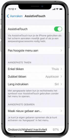 Virtuele thuisnop iPhone op scherm zetten