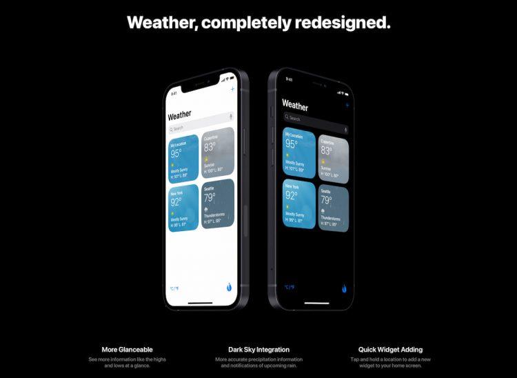 Weer app iOS 15