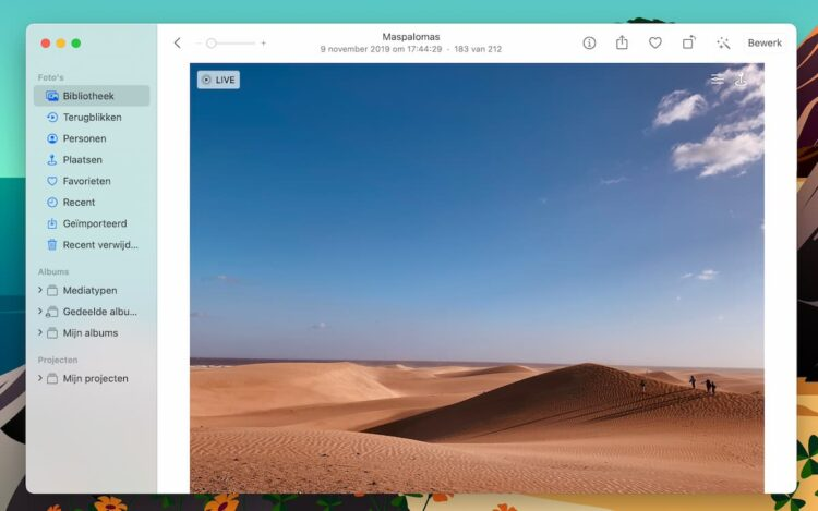Live Photos bekijken op Mac