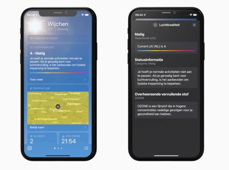 Luchtkwaliteit weer app