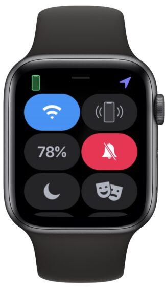 Apple Watch bedieningspaneel met batterijpercentage