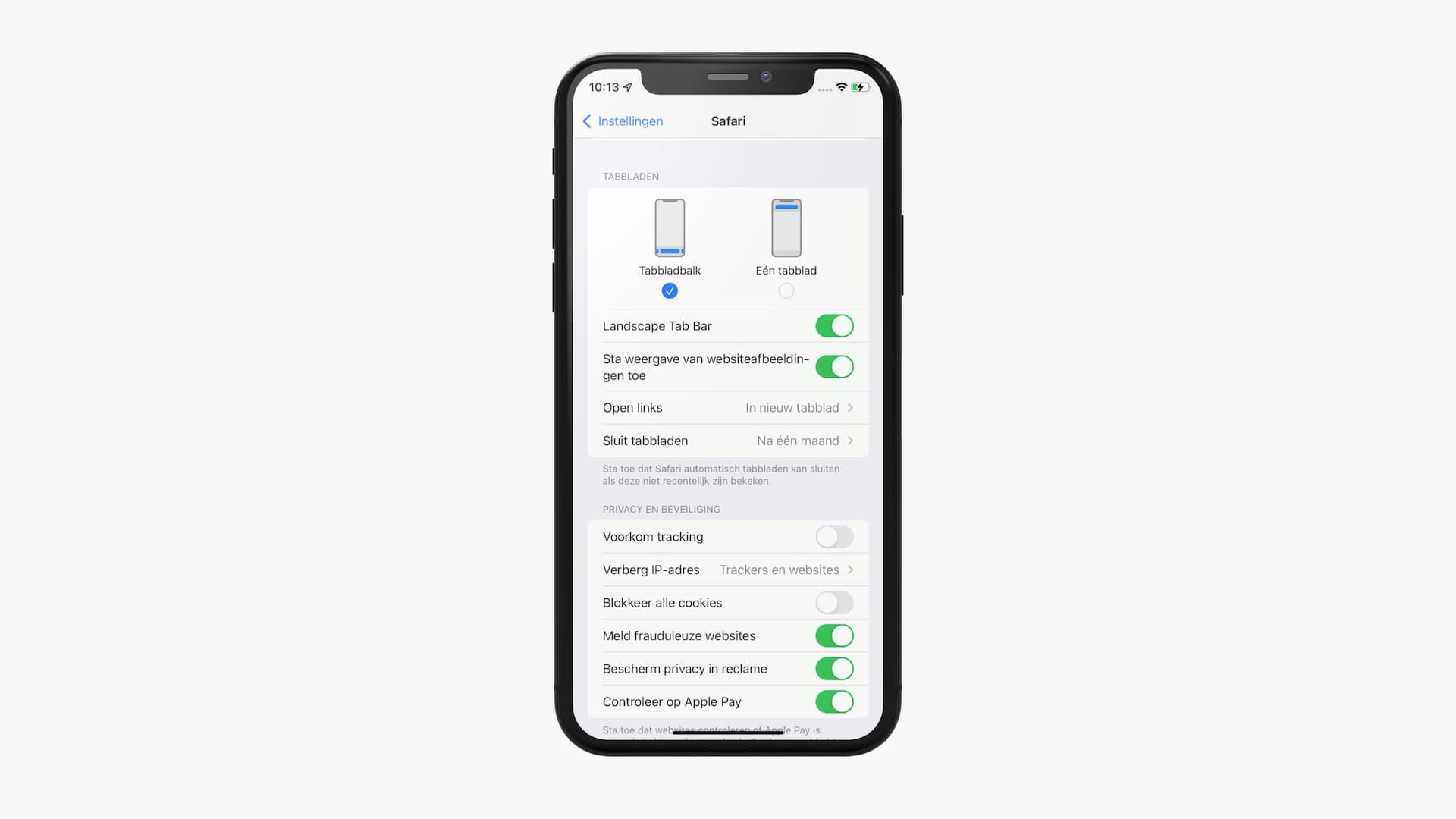 iOS 15: adres- en zoekbalk Safari verplaatsen in Instellingen