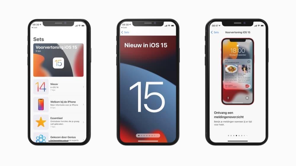 iOS 15 voorvertoning van Apple
