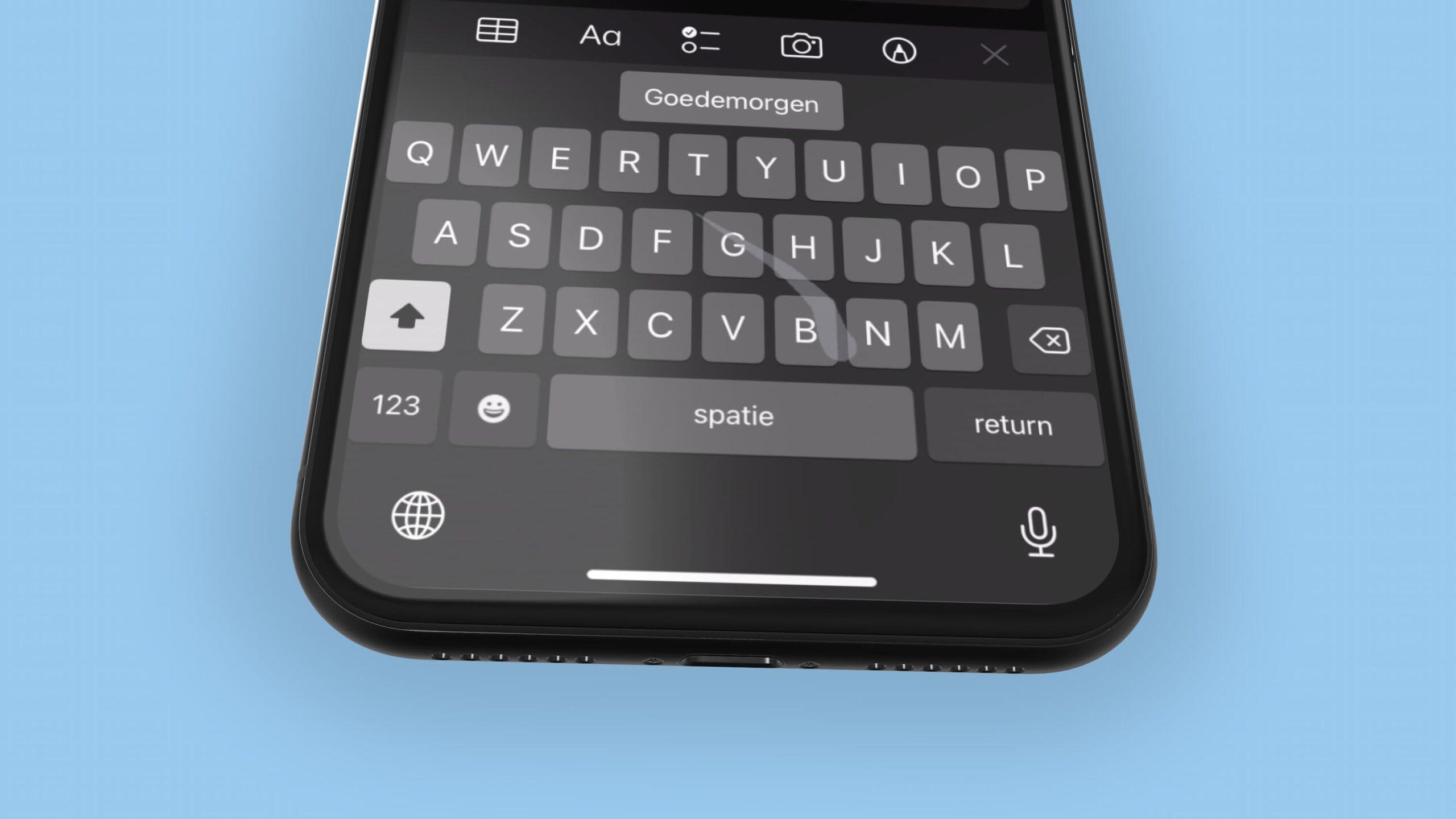iPhone veegtoetnsebord Nederlands